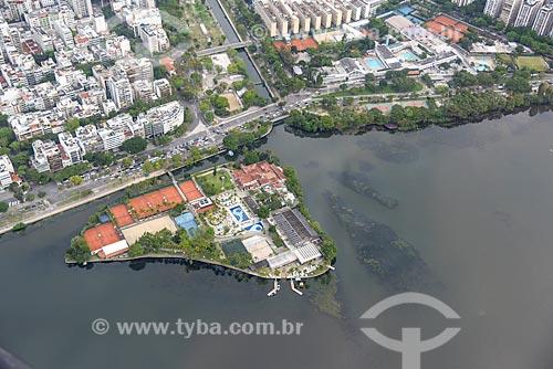 Foto aérea da Lagoa Rodrigo de Freitas com o canal da Jardim de Alah e o Clube dos Caiçaras  - Rio de Janeiro - Rio de Janeiro (RJ) - Brasil
