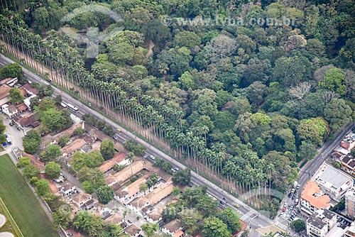 Foto aérea do Rua Jardim Botânico com o Jardim Botânico do Rio de Janeiro  - Rio de Janeiro - Rio de Janeiro (RJ) - Brasil