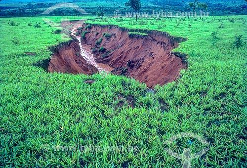 Detalhe de voçoroca no Pantanal - década de 90  - Mato Grosso (MT) - Brasil