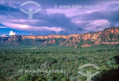 Formação rochosa de arenito no Parque Nacional da Chapada dos Guimarães - década de 2000  - Chapada dos Guimarães - Mato Grosso (MT) - Brasil