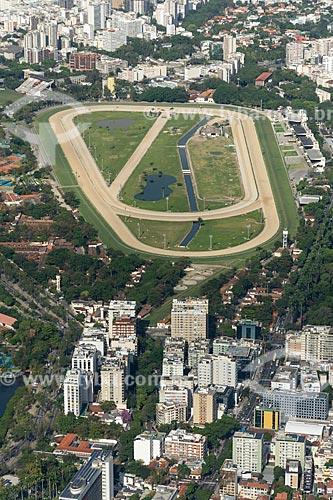 Vista do Hipódromo da Gávea a partir do mirante do Cristo Redentor  - Rio de Janeiro - Rio de Janeiro (RJ) - Brasil