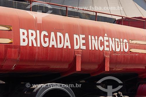 Detalhe de caminhão da brigada de incêndio na Cidade do Samba Joãozinho Trinta  - Rio de Janeiro - Rio de Janeiro (RJ) - Brasil