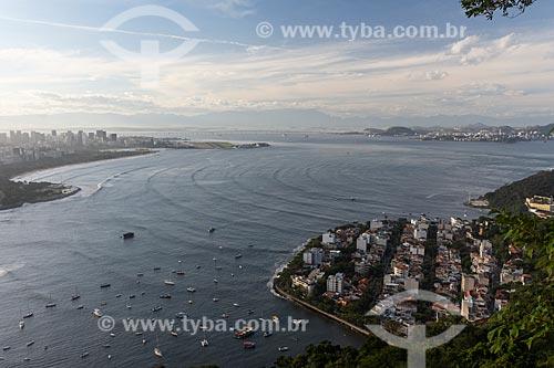 Vista do Aterro do Flamengo - à esquerda - e do bairro da Urca - à direita - a partir do mirante do Morro da Urca  - Rio de Janeiro - Rio de Janeiro (RJ) - Brasil