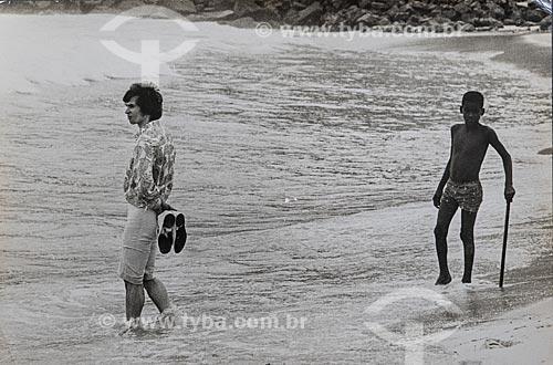 Bailarino Rudolf Nureyev na orla da Praia do Leblon  - Rio de Janeiro - Rio de Janeiro (RJ) - Brasil