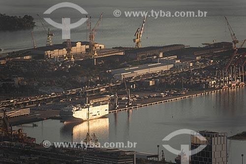 Vista do Porto do Rio de Janeiro a partir do Morro do Sumaré durante o amanhecer  - Rio de Janeiro - Rio de Janeiro (RJ) - Brasil