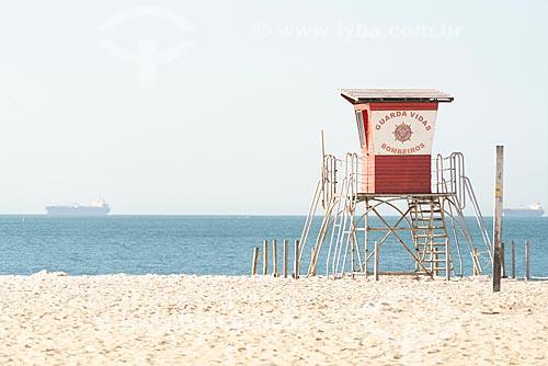 Guarita de salva-vidas na orla da Praia de Ipanema  - Rio de Janeiro - Rio de Janeiro (RJ) - Brasil