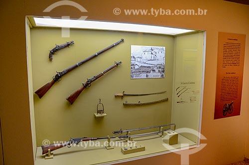 Detalhe de espingarda em exibição no Museu Militar Conde de Linhares (1921) - parte do acervo permanente Evolução do Armamento  - Rio de Janeiro - Rio de Janeiro (RJ) - Brasil