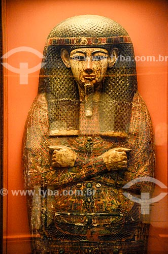 Detalhe da tampa da esquife do sacerdote Hori em exibição no Museu Nacional - antigo Paço de São Cristóvão  - Rio de Janeiro - Rio de Janeiro (RJ) - Brasil