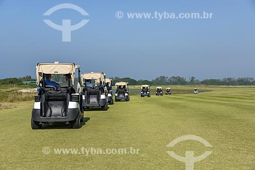 Carrinhos de golfe no campo de Golfe da Barra da Tijuca - parte do Parque Olímpico Rio 2016  - Rio de Janeiro - Rio de Janeiro (RJ) - Brasil