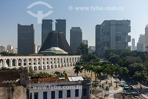 Vista do Arcos da Lapa e da Catedral de São Sebastião do Rio de Janeiro com o Edifício Sede da Petrobras à direita  - Rio de Janeiro - Rio de Janeiro (RJ) - Brasil
