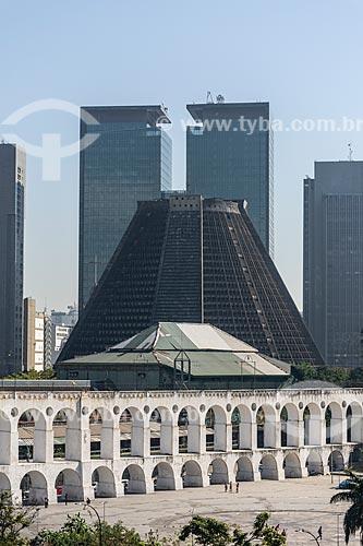 Vista da Arcos da Lapa e a Catedral de São Sebastião do Rio de Janeiro (1979)   - Rio de Janeiro - Rio de Janeiro (RJ) - Brasil