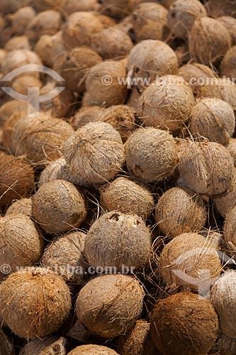 Detalhe de cocos à venda no Mercado Ver-o-peso (Século XVII)  - Belém - Pará (PA) - Brasil