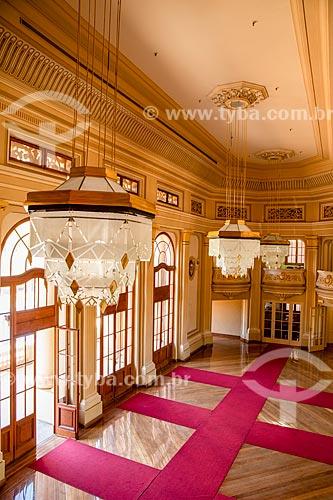 Salão dos Espelhos no hall de entrada do Teatro Pedro II (1930) - parte do Quarteirão Paulista  - Ribeirão Preto - São Paulo (SP) - Brasil