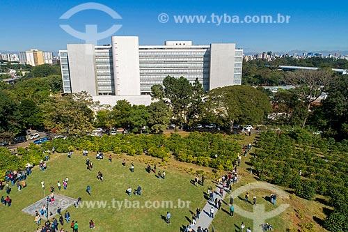 Foto feita com drone da colheita urbana de café no Instituto Biológico  - São Paulo - São Paulo (SP) - Brasil
