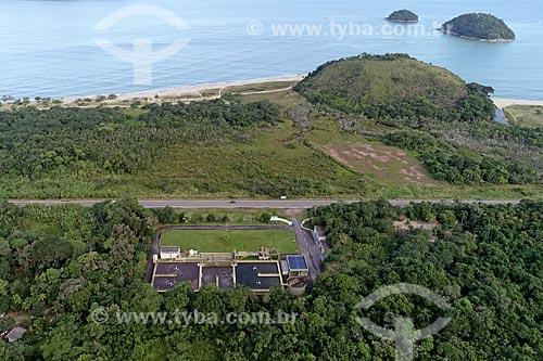 Foto feita com drone da Estação de Tratamento de Água (ETA) Massaguaçu  - Caraguatatuba - São Paulo (SP) - Brasil
