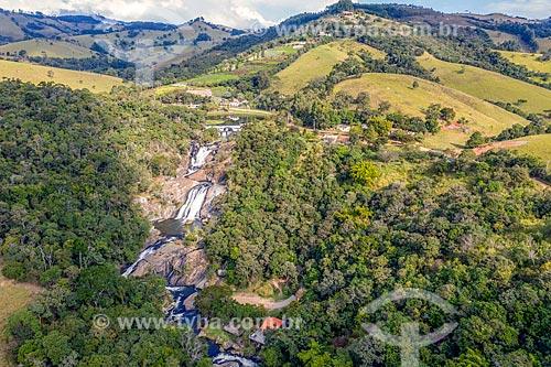 Foto feita com drone da Cachoeira do Pimenta  - Cunha - São Paulo (SP) - Brasil
