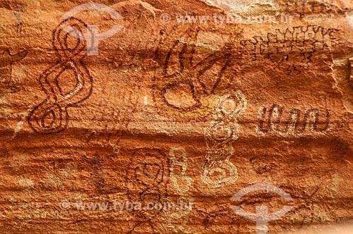 Detalhe de pintura rupestre - Sítio Arqueológico Gruta do Pitoco - na Serra do Bom Sucesso  - Alcinópolis - Mato Grosso do Sul (MS) - Brasil