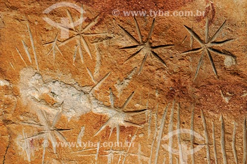 Detalhe de petróglifo - Sítio Arqueológico Pata da Onça - na Serra do Bom Jardim  - Alcinópolis - Mato Grosso do Sul (MS) - Brasil