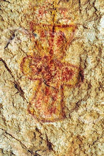 Detalhe de pintura rupestre - Sítio Arqueológico Pata da Onça - na Serra do Bom Jardim  - Alcinópolis - Mato Grosso do Sul (MS) - Brasil