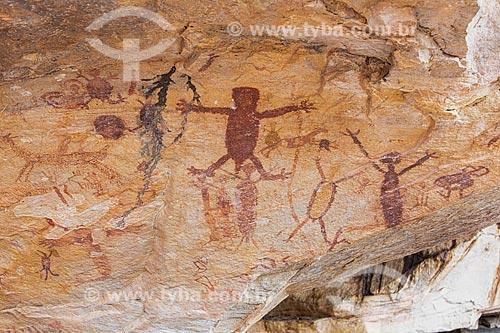 Detalhe de pintura rupestre - figura de animais e pessoas - no Sítio Arqueológico Toca da Extrema II - Parque Nacional Serra da Capivara  - São Raimundo Nonato - Piauí (PI) - Brasil
