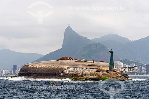Vista do Forte Tamandaré da Laje a partir da Baía de Guanabara  - Rio de Janeiro - Rio de Janeiro (RJ) - Brasil