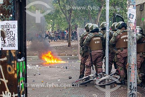 Manifestações contra o governo do presidente Sebastián Piñera, a desigualdade social e a repressão - Manifestação chamada de Supersegunda  - Santiago - Província de Santiago - Chile