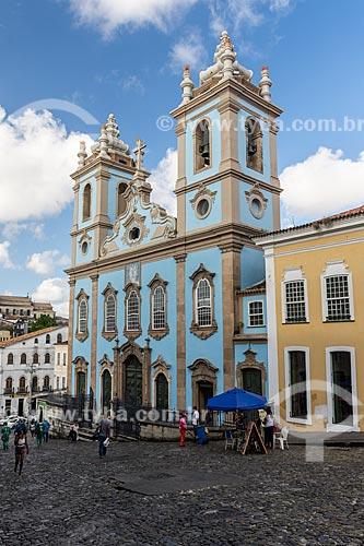 Fachada da Igreja de Nossa Senhora do Rosário dos Pretos (século XVIII) no Pelourinho  - Salvador - Bahia (BA) - Brasil