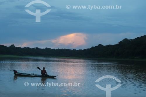 Entardecer no Rio Purus - Reserva de Desenvolvimento Sustentável Piagaçu-Purus - Beruri - Amazonas (AM) - Brasil