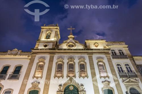Fachada iluminada da Igreja da Ordem Terceira de São Domingos Gusmão (Século 18) - Salvador - Bahia (BA) - Brasil
