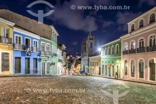 Vista de casarios iluminados no Pelourinho com a Igreja de Nossa Senhora do Rosário dos Pretos (século XVIII) ao fundo - Salvador - Bahia (BA) - Brasil