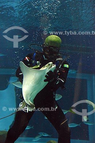 Mergulhador com arraia no AquaRio - aquário marinho da cidade do Rio de Janeiro  - Rio de Janeiro - Rio de Janeiro (RJ) - Brasil