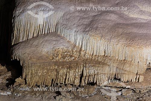 Gruta da Lapa Doce - Interior da grande caverna com estalactites e estalagmites  - Iraquara - Bahia (BA) - Brasil