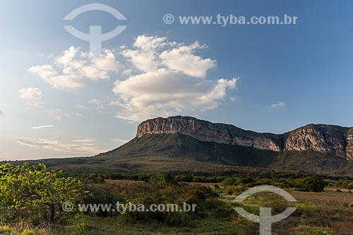 Paisagem de Cerrado com formação rochosa ao fundo  - Ibicoara - Bahia (BA) - Brasil