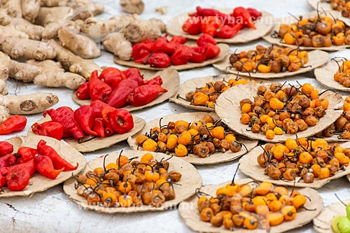 Mix de pimentas à venda em feira livre  - Rio de Janeiro - Rio de Janeiro (RJ) - Brasil