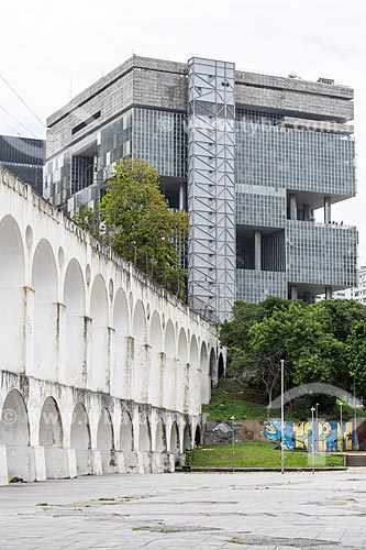 Vista dos Arcos da Lapa (1750) com prédio da PETROBRAS ao fundo  - Rio de Janeiro - Rio de Janeiro (RJ) - Brasil