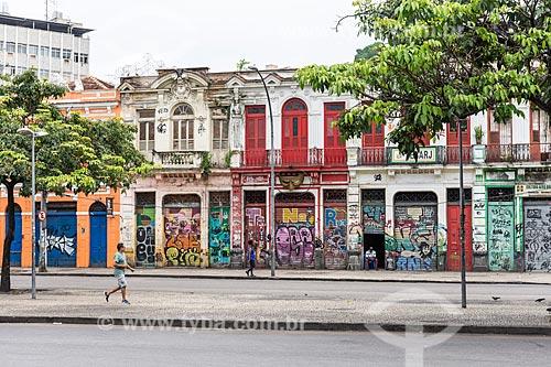 Fachadas de casas históricas da Lapa  - Rio de Janeiro - Rio de Janeiro (RJ) - Brasil