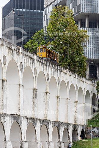 Vista dos Arcos da Lapa (1750) com o Bonde de Santa Teresa  - Rio de Janeiro - Rio de Janeiro (RJ) - Brasil