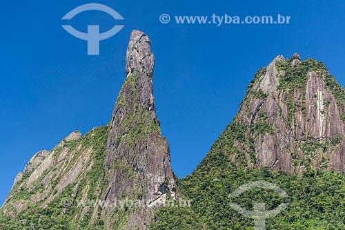 Vista do dos picos Dedo de Deus e Cabeça de Peixe no Parque Nacional da Serra dos Órgãos  - Teresópolis - Rio de Janeiro (RJ) - Brasil