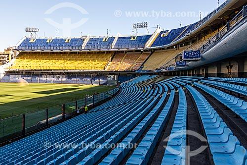 Interior do Estádio de Futebol La Bombonera (Estádio Alberto José Armando) - Estádio do Clube de futebol Boca Juniors  - Buenos Aires - Província de Buenos Aires - Argentina