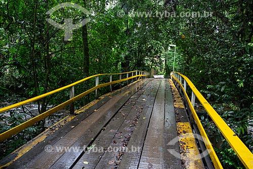 Ponte de madeira sobre o Rio das Pedras  - São Sebastião - São Paulo (SP) - Brasil