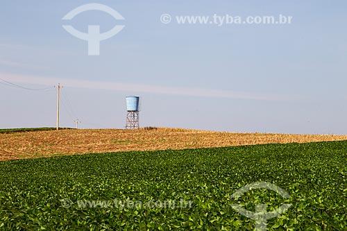 Plantação de Soja com caixa de água suspensa ao fundo  - Derrubadas - Rio Grande do Sul (RS) - Brasil