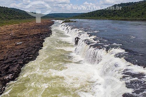 Foto feita com drone do Salto do Yucumã no Rio Uruguai, maior cachoeira longitudinal do mundo  - Derrubadas - Rio Grande do Sul (RS) - Brasil