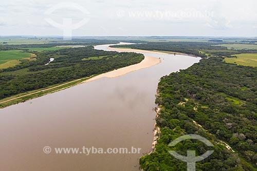 Foto feita com drone de Mata Ciliar na margem do Rio Ibicuí  - Manoel Viana - Rio Grande do Sul (RS) - Brasil