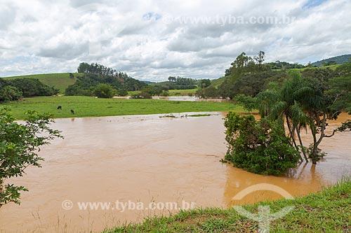Vista de área rural de Guarani, inundada por cheia do Rio Pomba  - Guarani - Minas Gerais (MG) - Brasil