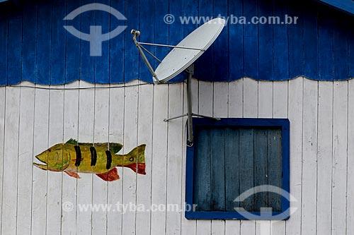 Fachada de casa típica da comunidade  - Borba - Amazonas (AM) - Brasil
