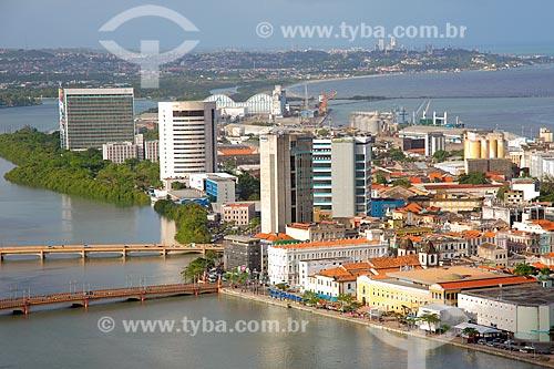 Foto aérea do Recife Antigo com Olinda ao fundo  - Recife - Pernambuco (PE) - Brasil