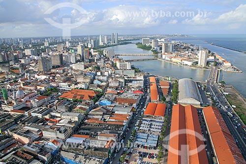 Foto aérea do bairro de Santo Antônio e do Recife Antigo  - Recife - Pernambuco (PE) - Brasil