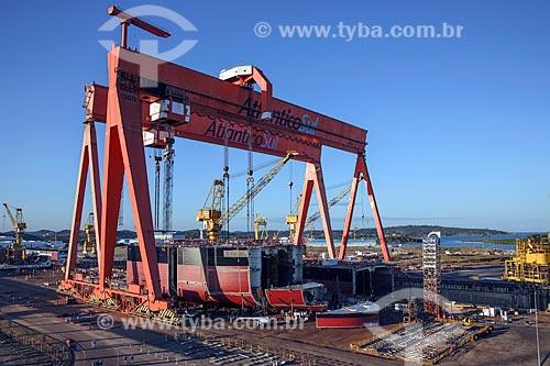 Navio da Transpetro sendo construído no Estaleiro Atlântico Sul - Porto de Suape  - Ipojuca - Pernambuco (PE) - Brasil