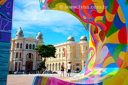 Parte do letreiro na Praça do Rio Branco - também conhecido como Marco Zero  - Recife - Pernambuco (PE) - Brasil