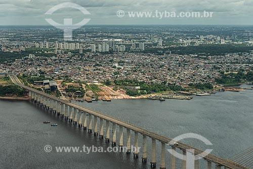 Vista área da Ponte Jornalista Phelippe Daou (2011) - também conhecida como Ponte Rio Negro  - Manaus - Amazonas (AM) - Brasil